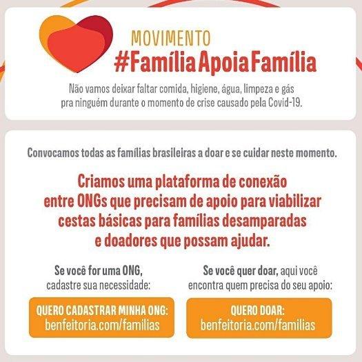 Solidariedade em tempos de coronavirus: #FamiliaApoiaFamilia